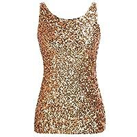 PrettyGuide Women Shimmer Glam Sequin Embellished Sparkle Tank Top Vest Tops,Gold,Us Size -Medium, Asian Size- L