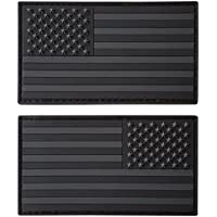 Set of 2 All Black ACU Dark Touch Fastener PVC Rubber Patches USA American Flag Morale Army