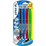 Pilot FriXion Ball  Juego de Bolígrafos de tinta de gel, 4 unidades, colores surtidos
