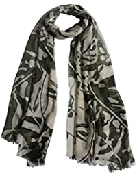Vozaf Women's Linen Modal Shawls - Green And Beige