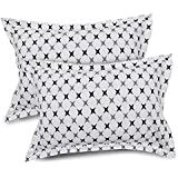 Ahmedabad Cotton 2 Pcs Cotton Pillow Cover Set - White, Black & Grey