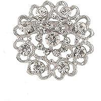 lumanuby broche Hollow diamante corazón amor broche ramillete pin joyería FANTASY corsé y broche Pin 3* 3cm), color plateado