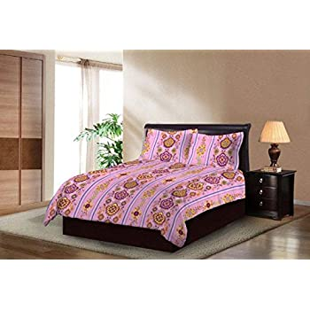 Bombay Dyeing Breeze Beautiful and Elegant Pink Color Modern Print 140 TC Cotton Double Bedsheet with 2 Pillow Covers
