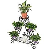 HLC Bastidor metálico para macetas soporte para hierbas y flores en forma Triangular-6 bandejas color:negro 96*26*93cm