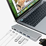 """Double Type C 8 In 1 Hub : Genxtics MacBook Pro Adapter With 3 USB 3.0, Thunderbolt 3 40Gbs @5k, 4k HDMI, Type-C Pass-Through Charge, SD/TF Card Reader For 13"""" Or 15"""" MacBook Pro 2017 And 2016"""