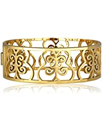 Spargz Hollow Flower Exquisite Gold Plated Open Bangles Bracelets For Girls & Women AISK 202