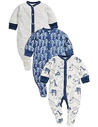 next Bebés Niños Paquete De 3 Pijamas Peleles Estampado De Elefante Azul Marino (0 Meses-2 Años)