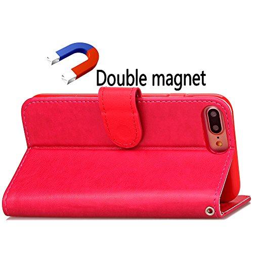 BONROY® Coque pour iPhone 7 Plus (5,5 Zoll),Housse en cuir pour iPhone 7 Plus (5,5 Zoll),imprimé étui en cuir PU Cuir Flip Magnétique Portefeuille Etui Housse de Protection Coque Étui Case Cover avec  Rose Rouge