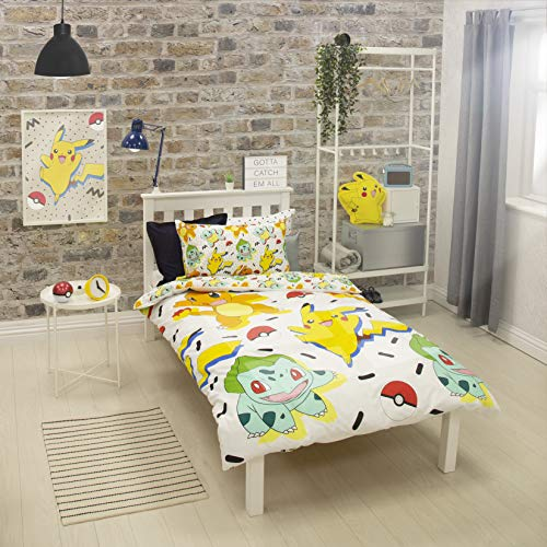 Pokemon Einzelbett-Bettbezug, wendbar, zweiseitig, mit Pikachu, Squirtle & Charmander, mit passendem Kissenbezug, Mehrfarbig, 200 x 135 cm