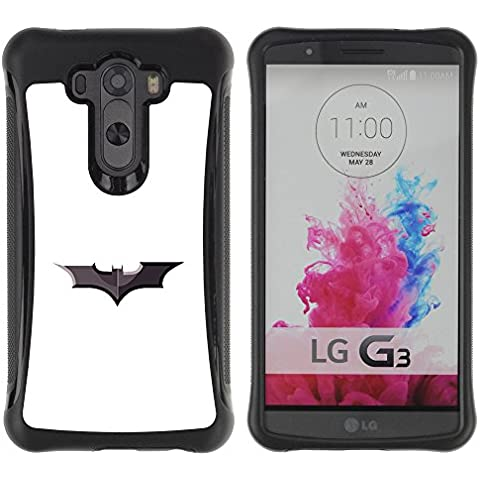 ZAKO Cases / LG G3 / Minimalist Batman Sign / Robusto Prueba de choques Caso Billetera cubierta Shell Armor Funda Case Cover Slim Armor
