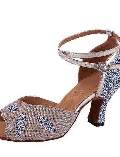 ShangYi Chaussures de danse ( Jaune / Argent ) - Non Personnalisables - Talon Bottier -Cuir / Similicuir / Paillette Brillante / Paillette /