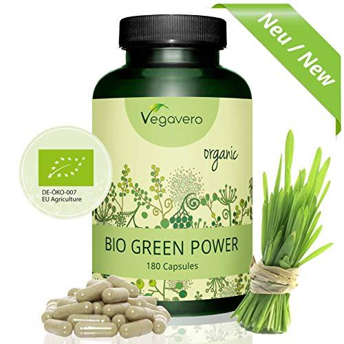 Hierba de Trigo + Hierba de Cebada | Rico en Proteína Vegana + Aminoácidos + Clorofila | Superalimentos | 700 mg | 180 Cápsulas | Instrucciones en Español | Vegano | Green Power Mix BIO Vegavero