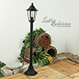 Rustikale Standleuchte in schwarz inkl. 1 x 12W E27 LED 230V Stehleuchte aus Aluminium & Glas Stehlampe für Garten/Terrasse Garten Terrasse Lampe Leuchten außen Beleuchtung
