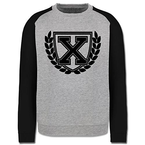 Anfangsbuchstaben - X Collegestyle - Herren Baseball Pullover Grau Meliert/Schwarz