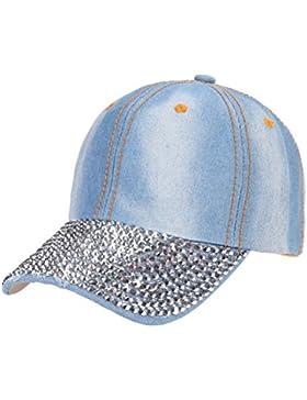 Tinksky Unisex Studded Crystal Rhinestone Brim ajustable Jean sombrero de gorra de béisbol para el verano de deportes...