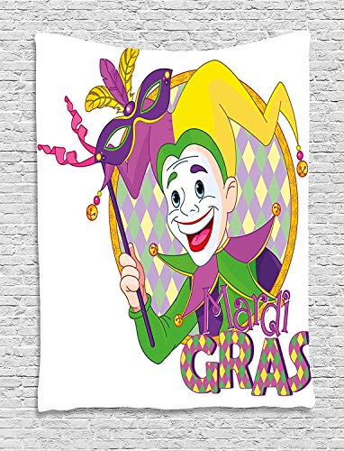 TRUIOKO Mardi Gras Tapisserie, Cartoon Design of Mardi Gras Jester Smiling and Holding a Mask Harlequin Figure, Wall Hanging for Bedroom Living Room Dorm Wall Tapisserie Decor,80' X 60' inches