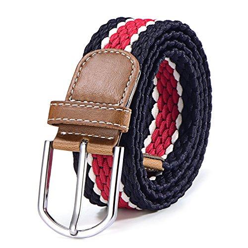 Stoffgürtel Stretchgürtel geflochten und elastisch Gürtel für Damen und Herren Länge 100 cm bis 130 cm dunkelblau-weiß-rot