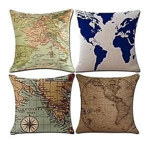 Desy Juego de 4clásico patrón de mapa del mundo funda de almohada creativa sofá cojín cubierta decoración para el hogar funda de almohada