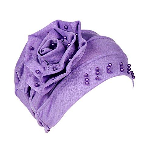 URSING Damen Kopftuch Muslim Ruffled Cancer Chemo Mütze Schal Turban Wrap Cap Stylish Elegan Blumen Indien Hut Multifunktionstuch Kopfbedeckung für Chemo, Krebs, Make up (Lila)