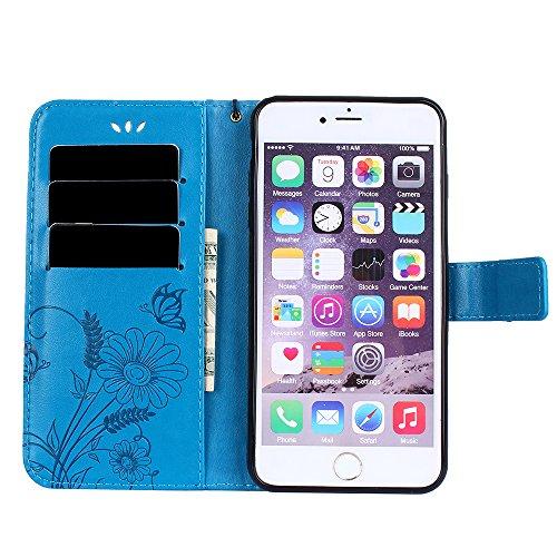 iPhone 7 Plus Coque, Voguecase Étui en cuir synthétique chic avec fonction support pratique pour Apple iPhone 7 Plus 5.5 (Fleurs et papillon II-Gris)de Gratuit stylet l'écran aléatoire universelle Fleurs et papillon II-Bleu