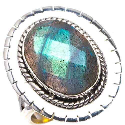 925er Sterling Silber Labradorite Einzigartig Handgefertigt Ringe 18 Blue B1036
