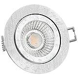 LED Einbaustrahler flach (40mm) dimmbar - RW-2 Einbauleuchte rund Alu gebürstet IP44 mit 6W LED Modul warmweiß 2700K für 230V ohne Trafo