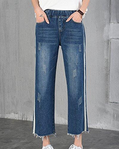 Femme Boyfriend Jeans Jambe Large Denim Pantalons Pants Bleu Foncé