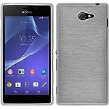 PhoneNatic Case für Sony Xperia M2 Hülle Silikon weiß brushed Cover Xperia M2 Tasche + 2 Schutzfolien