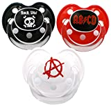 "Set of 3 baby pacifiers. Dummy Baby Rock Star Pacifier Baby Pacifier ""Slim Line"" Pacifier Nipple (6 months +)"