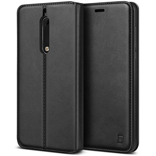 BEZ® Hülle für Nokia 5Hülle, Handyhülle Kompatibel für Nokia 5Tasche Case Schutzhüllen aus Klappetui mit Kreditkartenhaltern, Ständer, Magnetverschluss, Schwarz