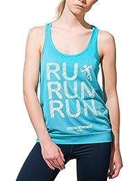466b55f178 Stedman Damen Sport-Top mit Ringerrücken, sportlicher Print Run Run Run,  Atmungsaktiv,