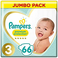 Pampers - Premium Protection Couches Taille 3 (6-10 kg) - 1 Pack de 66