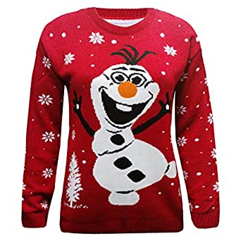 Olaf Christmas Jumper - Red Knitted Snowman Olaf Jumper (Women: 12-14): Amazo...
