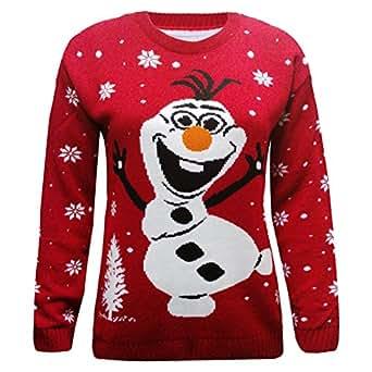 Olaf Christmas Jumper Knitting Pattern : Olaf Christmas Jumper - Red Knitted Snowman Olaf Jumper (Women: 12-14): Amazo...