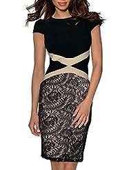 Miusol® Damen Kleid Mit Spitzen Rundhals Kurzarm Ballkleid Abendkleid, Schwarz Gr.36-44
