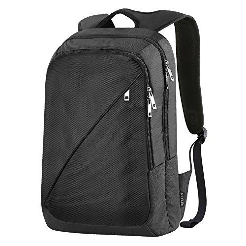 Imagen de reyleo  de portátil backpack impermeable para el laptop del negocio, trabajo, diario, ocio  19l negro