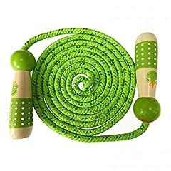 Idea Regalo - OFKPO Corda per Saltare Regolabile in Cotone e Legno per Bambini - per Giocare ed Esercitarsi(Verde)