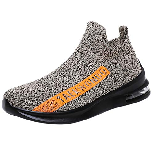 Mitlfuny Herren Mesh Ultraleicht Sportlich und Atmungsaktiv Sicherheitsschuhe rutschfest Jogger Turnschuhe,Herren Sommer fliegen gewebte atmungsaktive Slip-On Socken Schuhe Air Cushion Sneakers Woven 3 Mens Tie