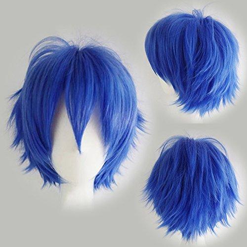 Cosplay Perücke Blau Anime Wig Kunsthaar Perücken Frauen Karnevalsperücke Fasching günstig (Kurze Blaue Perücke)