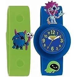 Moshi Kinder Armbanduhr Monsters Zoomer Blau & Grün austauschbares Band mit Anhängern