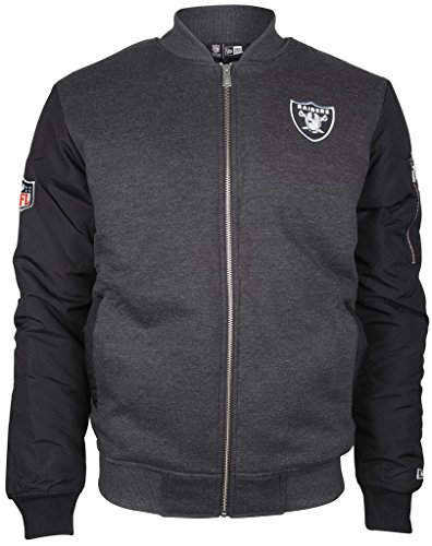 New Era - NFL Oakland Raiders Fleece Bomber Jacke - Grey-Black - M