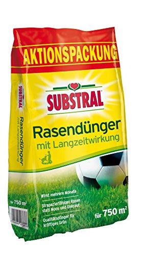 Substral Rasen-Dünger mit Langzeitwirkung - Qualitätsrasendünger mit bis zu 3 Monaten Langzeitwirkung für Sport,- Spiel - und Zierrasen - 15 kg für 750 m²