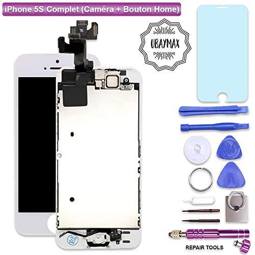 UBaymax LCD Display Touchscreen Digitizer - Glasobjektiv mit Kamera und Hauptknopf Reparatur-Wiedereinbau für iPhone 5S Weiß mit Werkzeug (5s Iphone Touch-screen)