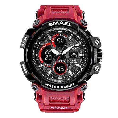 Nette Digital Elektronische Uhren der Männer Große Vorwahlknopf Analoge Uhren mit Rotem Silikon Band