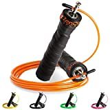 ZenRope - Speed Rope Springseil Sport mit GRATIS E-BOOK | Extra-Stahlseil, Tasche & Einstiegsguide | Rope Skipping Seil High Speed Workout Springschnur (Orange)