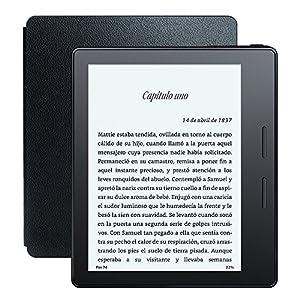 """E-reader Kindle Oasis con funda de carga de cuero, pantalla de 6"""" (15,2 cm) de alta resolución (300 ppp) con luz integrada, wifi + 3G gratis de Amazon"""