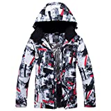 Printed Stripe Waterproof Ski Jacket, Ski Suit Windproof Snowear Winter Coat Insulated Jacket for Women-Black XXL