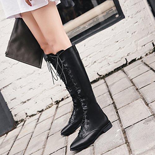 KHSKX-Lace Up Stiefel Weibliche Motorradstiefel Martin British Style Hohe Schuhe Mit Dicken Dicksohlige Schuhe Weibliche Winter Boots Weibliche Stiefel38Schwarz -