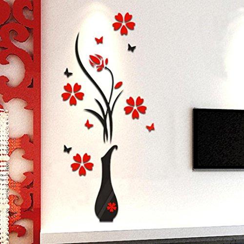 Wall Decals Hirolan Wanddekoration Fenster Abziehbilder 3D Tapete Blumen Wandtapete Selbstklebend DIY Vase Blume Baum Kristall Acryl 3D Mauer Aufkleber Abziehbild Zuhause Dekor (Schwarz, 80cmX40cm) (Baum Vase)