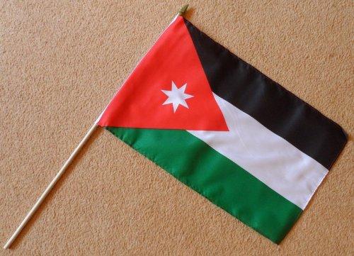 1000 Flags Jordan Große Handflagge - Ärmelte Polyester-Flagge auf 61 cm Holzstab